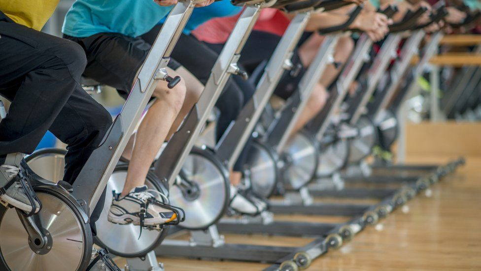 Exercise bikes in a spinning class