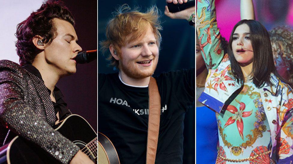 Harry Styles, Ed Sheeran, Dua Lipa,