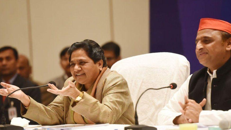 ahujan Samaj Party (BSP) chief Mayawati and Samajwadi Party President Akhilesh Yadav during a joint press conference, on January 12, 2019 i
