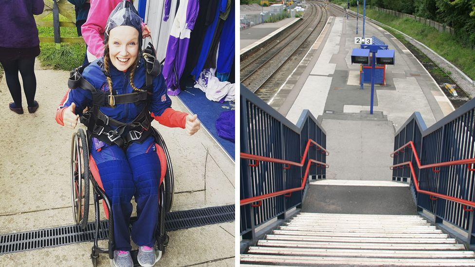 Chloe Ball-Hopkins after sky-diving and Hatton train station