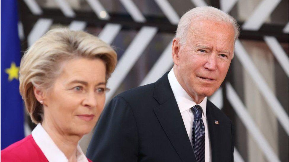 Presiden EC Ursula von der Leyen dan Presiden AS Joe Biden