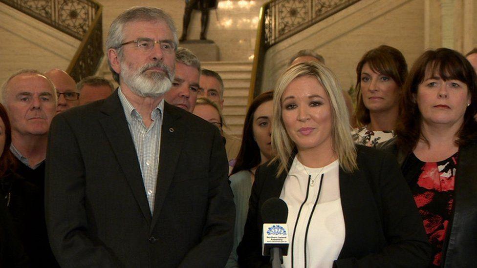 Michelle O'Neill and Gerry Adams with Sinn Féin colleagues