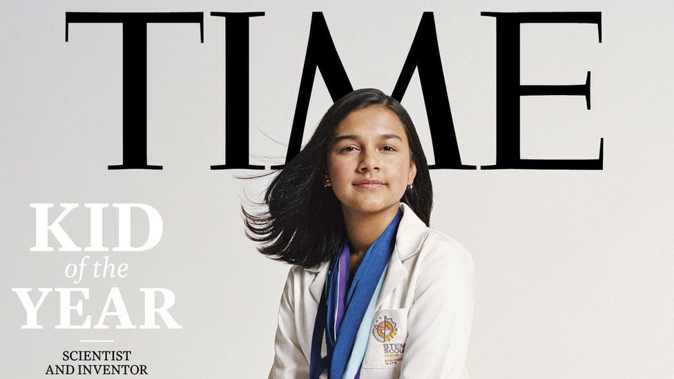 """Scientist and inventor Gitanjali Rao on the Time magazine cover as """"kid of the year"""""""