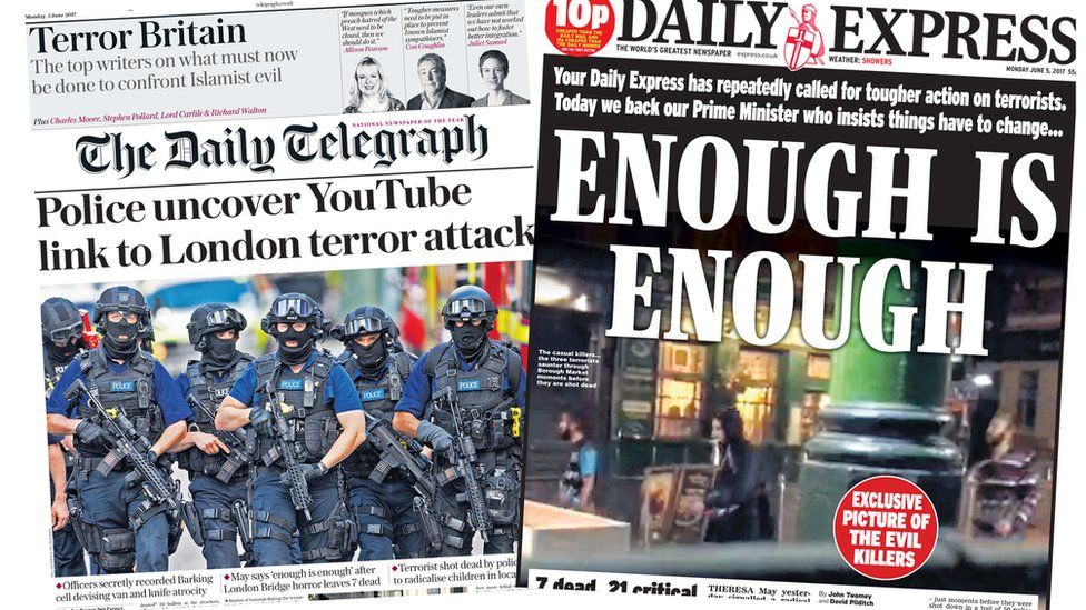 Telegraph and Express front pages 05/06/2017