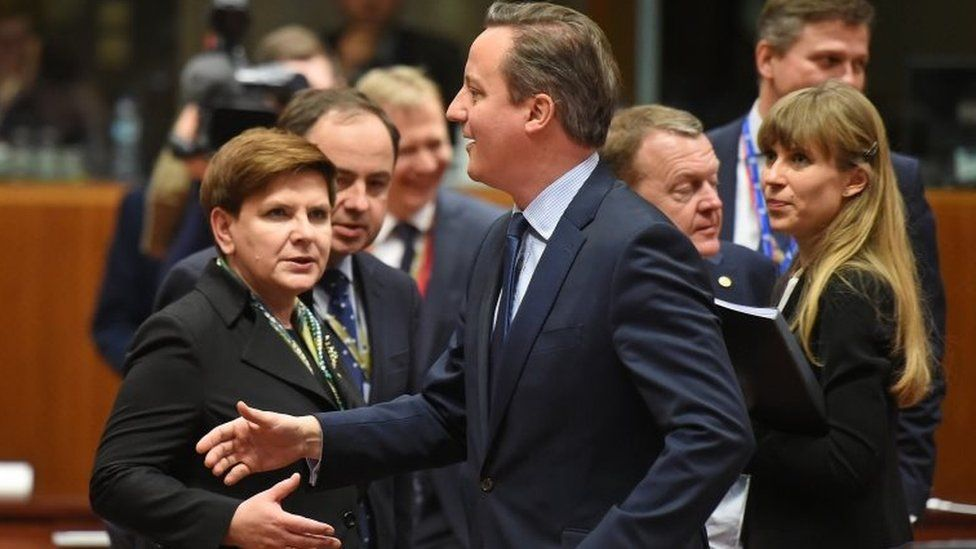 David Cameron about to be greeted by Polish Prime Minister Beata Szydto