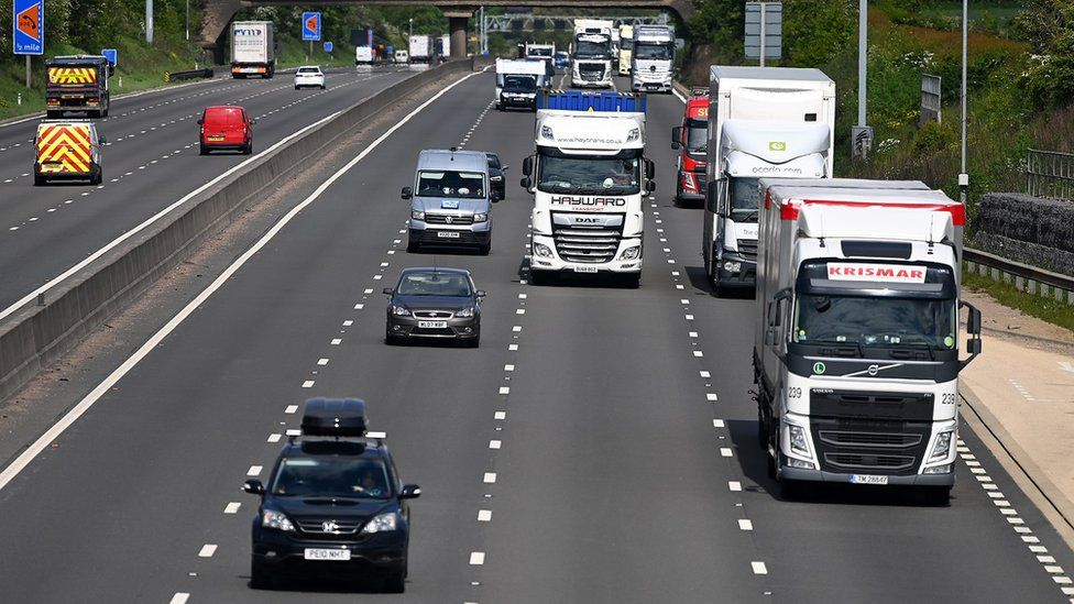 Traffic on the M1 motorway in Northamptonshire on Wednesday morning