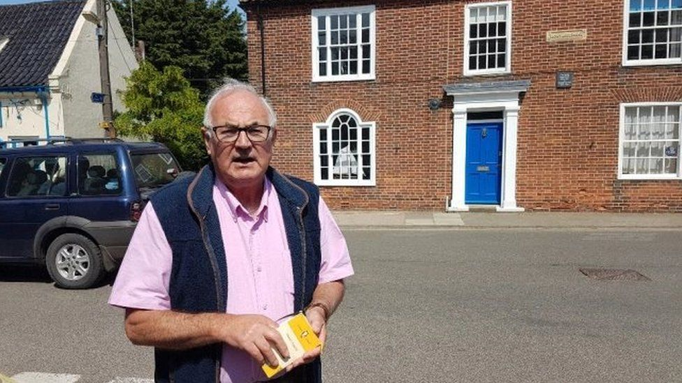 Richard Blair outside Montague House, Southwold