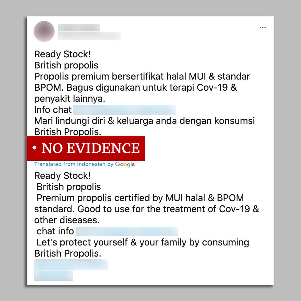Screengrab of social post promoting propolis against Covid