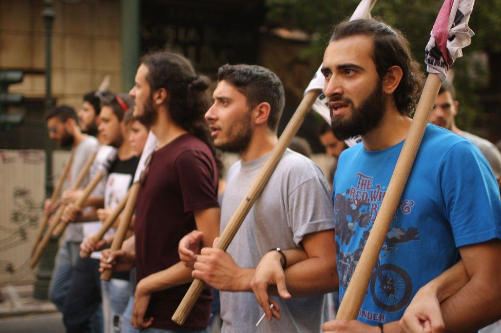 Demonstrators march through Athens during an anti-austerity rally , July 10 2015