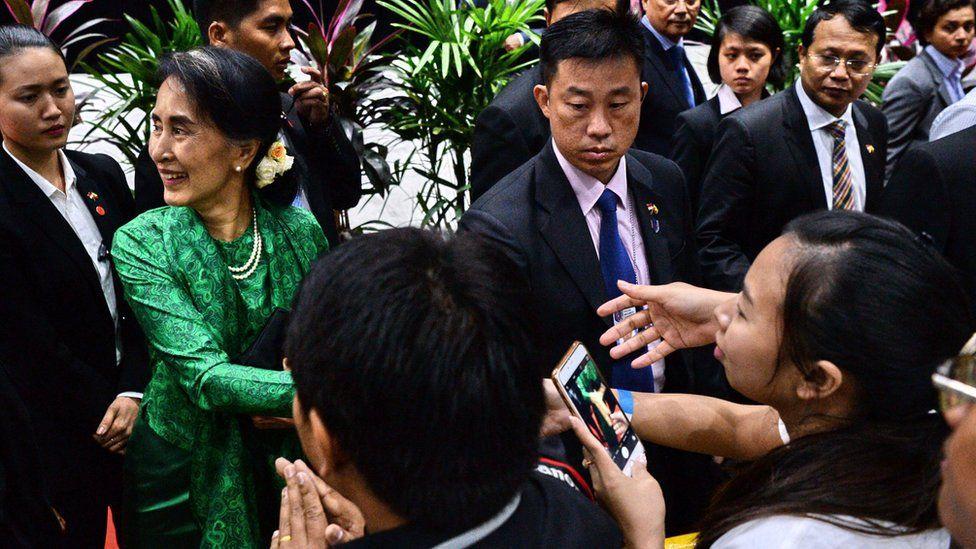 Aung San Suu Kyi in Singapore