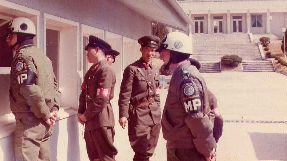 US and North Korean guards standing side by side in the JSA on the DMZ in Korea, 1976