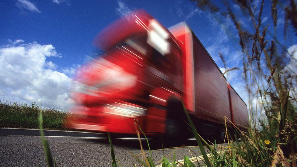 Photograph of speeding lorry