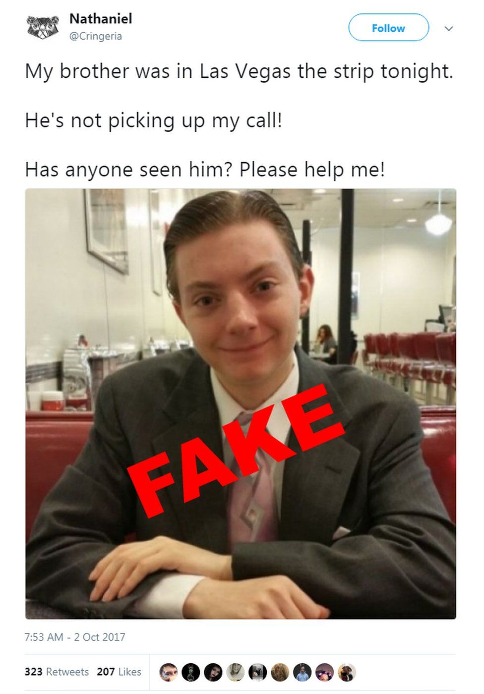 YouTuber 'TheReportOfTheWeek' was falsely named on social media as missing after the Las Vegas shooting