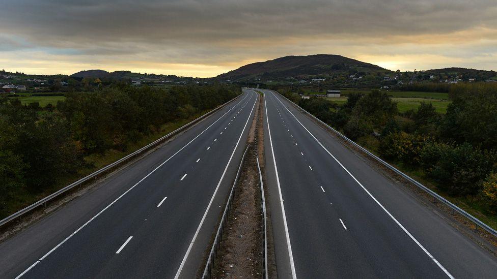 The Belfast to Dublin road crosses the border