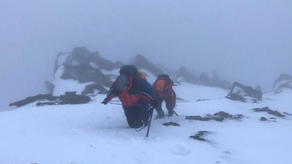 Rescuers spent four hours on the mountain