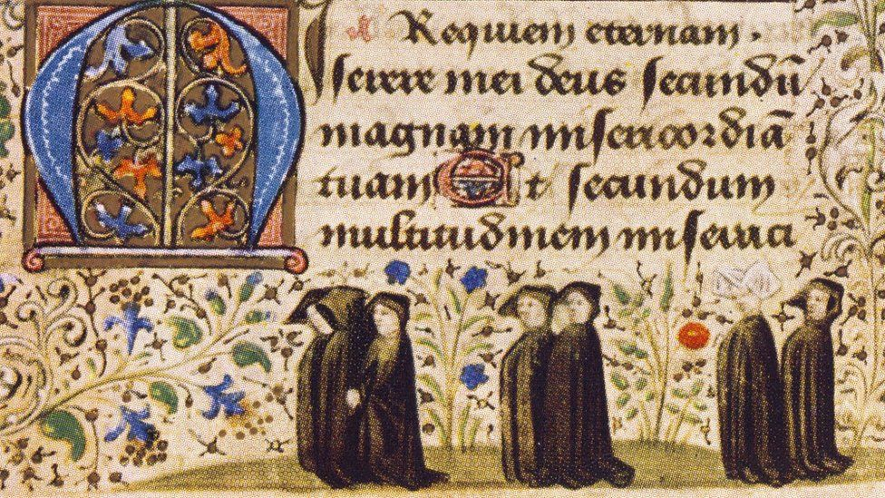 Mourners pictured in the Book of Hours, a medieval prayerbook