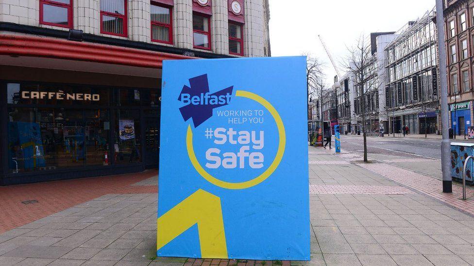 Empty streets in Belfast on 23 March 2021