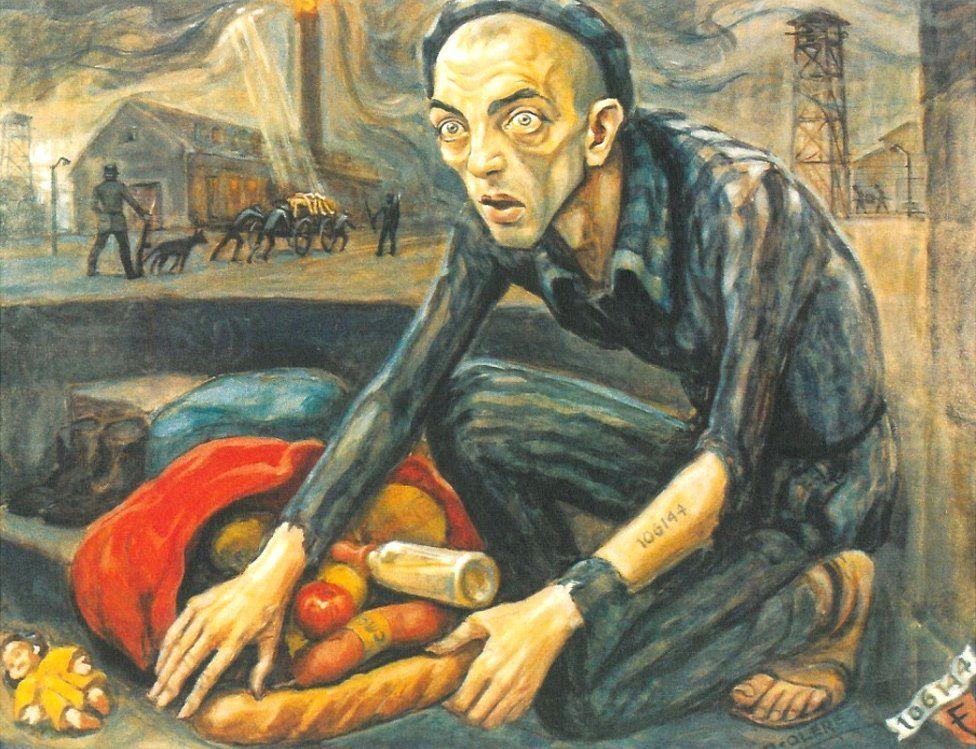 Olère painting showing himself as inmate (courtesy of Auschwitz-Birkenau Memorial)