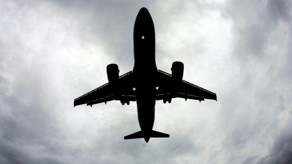 An aeroplane landing