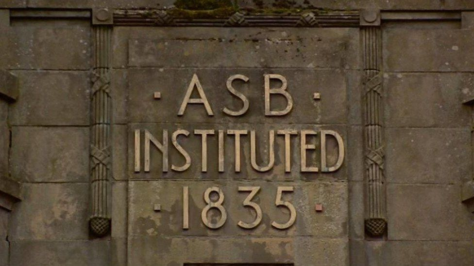 """""""1835"""" Airdrie Savings Bank sign"""