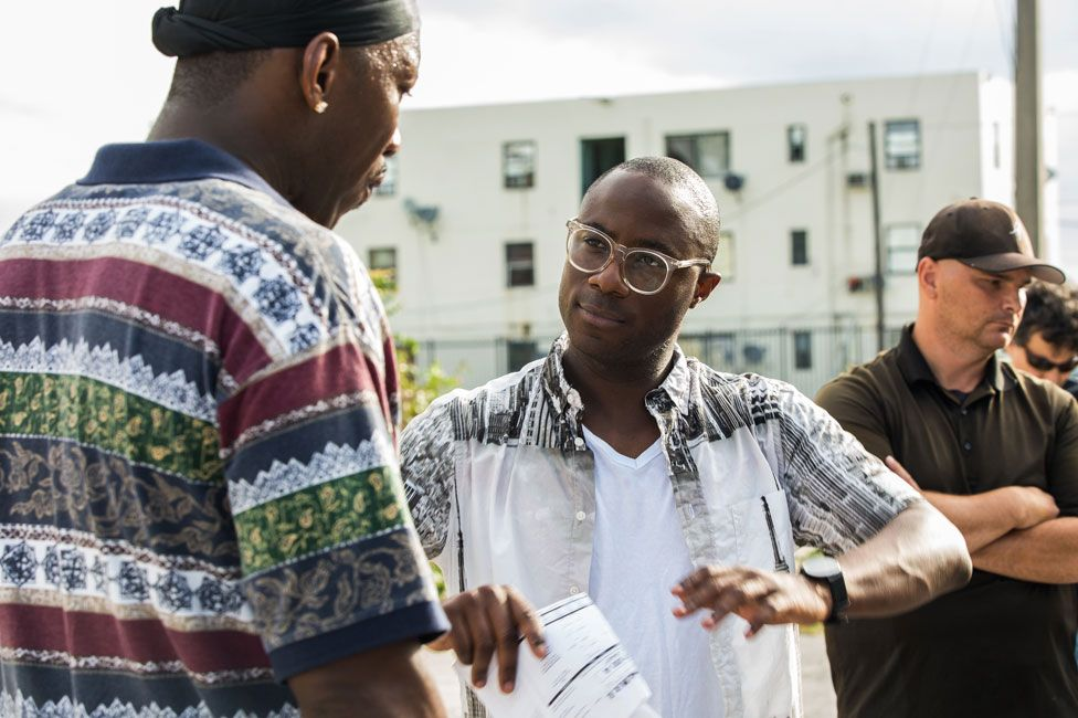 Barry Jenkins on the Moonlight set with actor Mahershala Ali