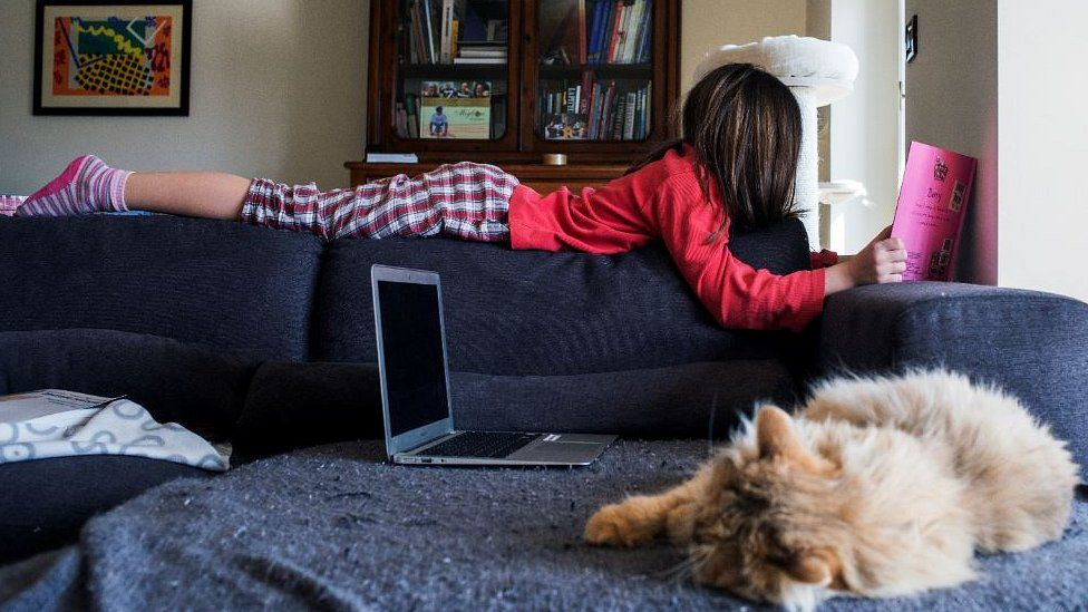 Italian girl at home during lockdown, file pic
