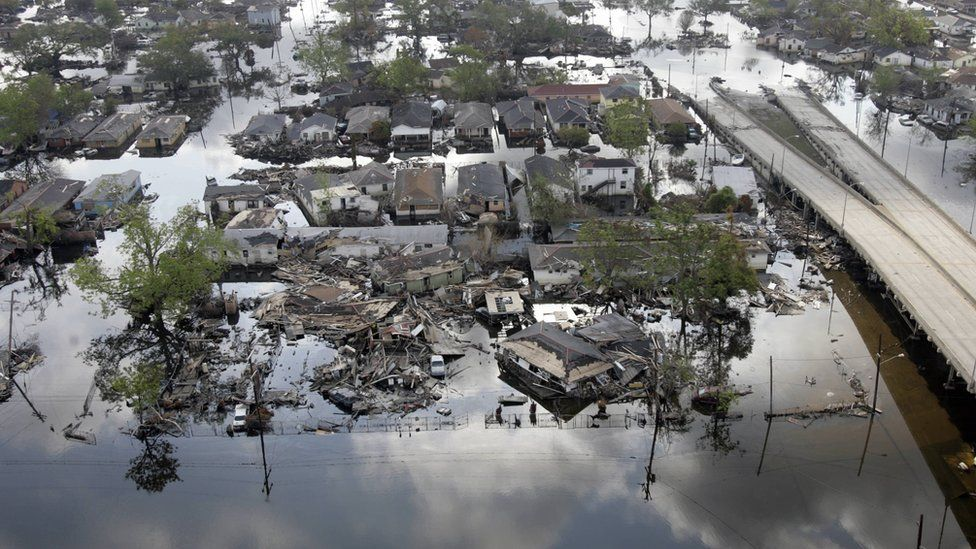 Flooding in New Orleans after hurricane Katrina in 2005