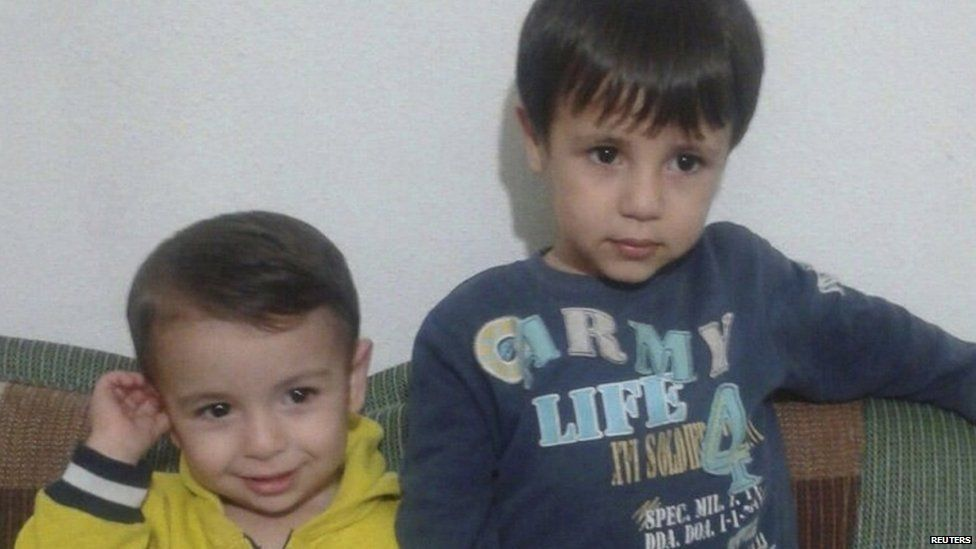 Brothers Syrian Alan Kurdi and Galip Kurdi