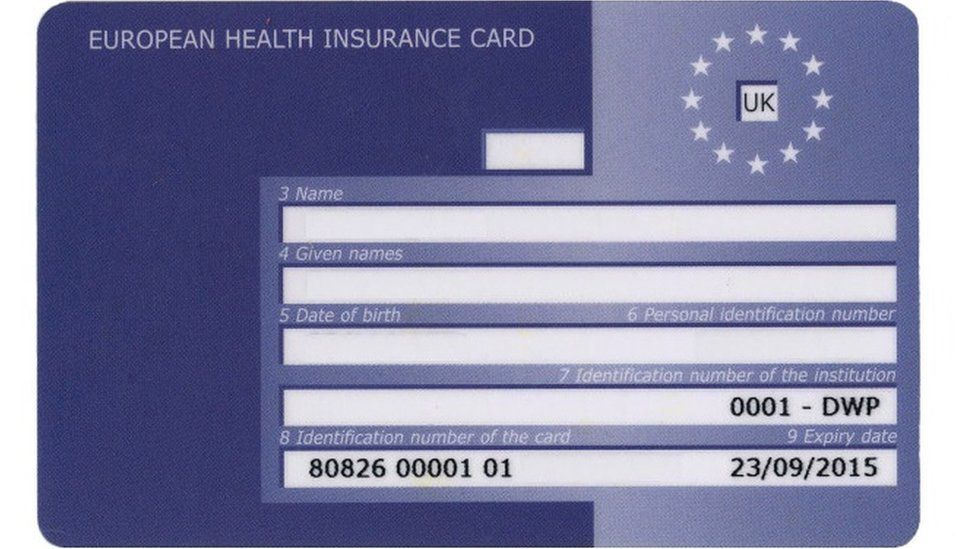 An example of an EHIC card