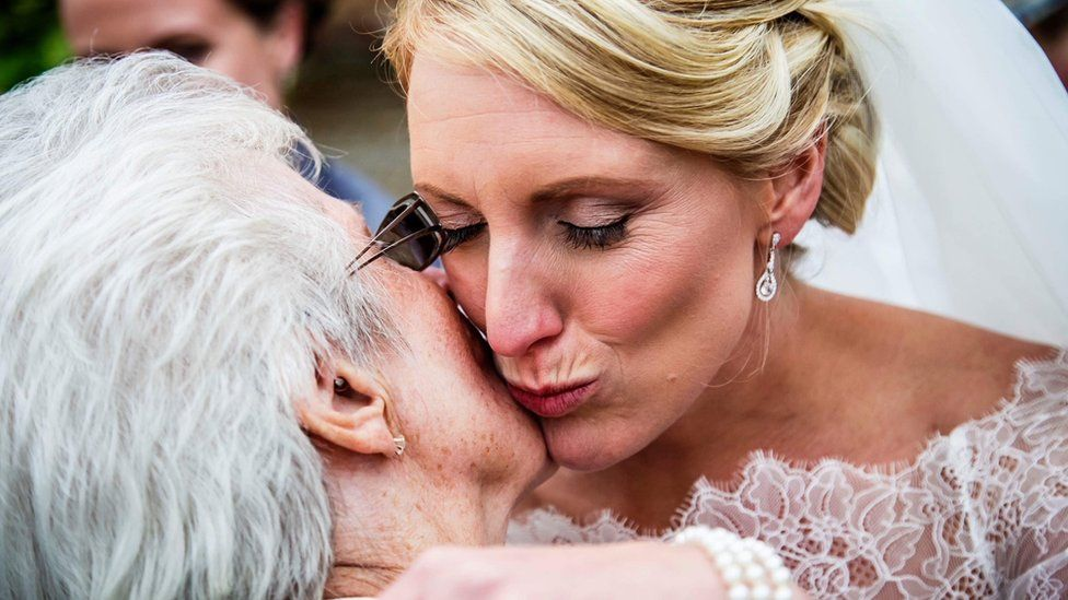 Rob Brice's wife and grandmother on his wedding day