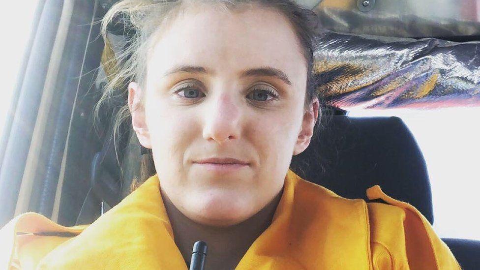 Kat Robinson-Williams in firefighter gear