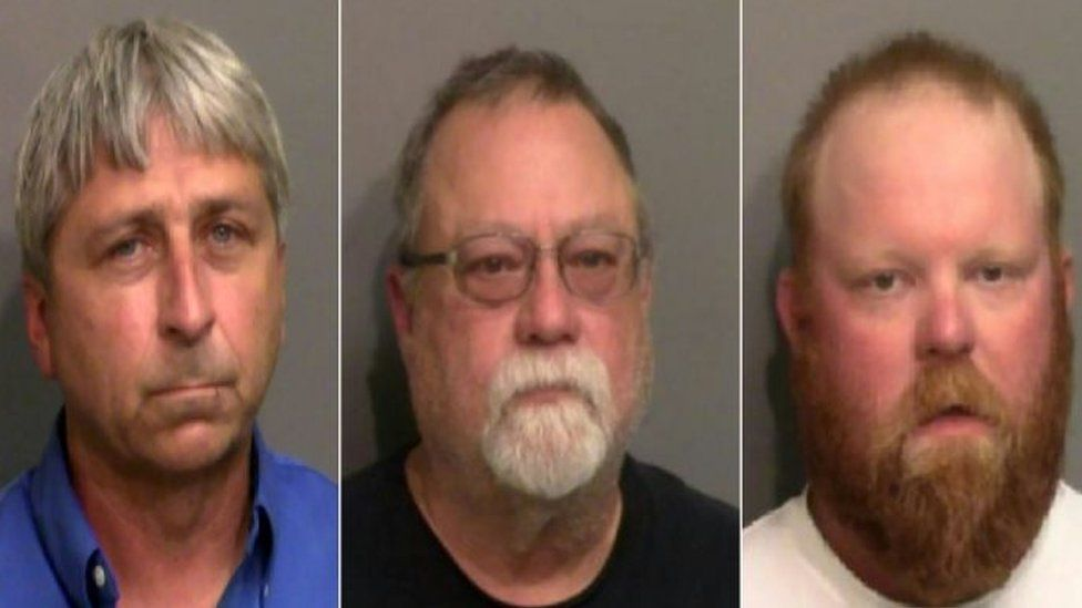 From left to right: William Bryan, Gregory McMichael and Travis McMichael