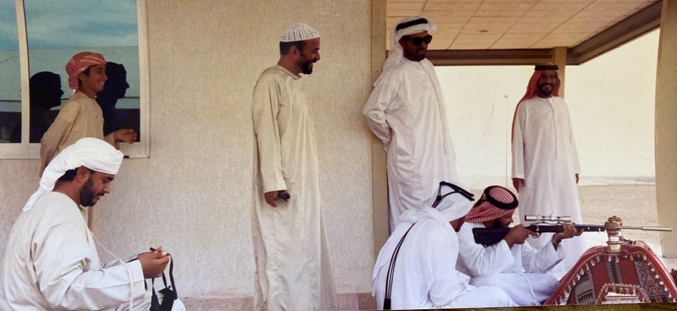 A hunting group from Abu Dhabi in the late 1980s that travelled to Pasni