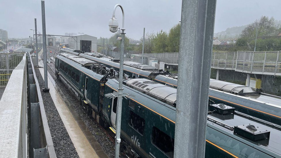 Dozens of Class 800s are stacked up waiting to be checked at Hitachi's Swansea depot