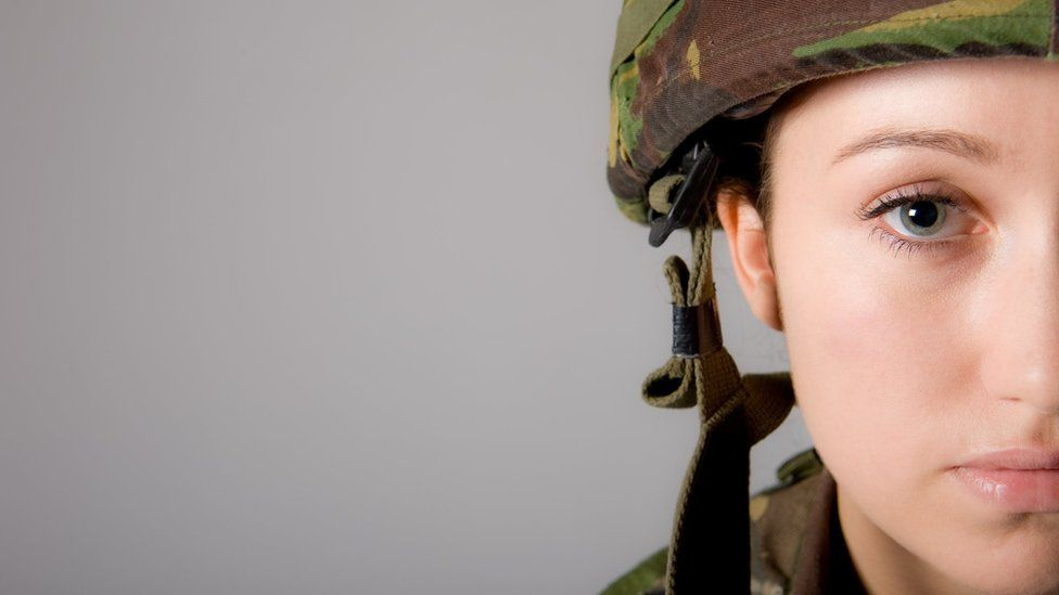 Stock image of a female soldier