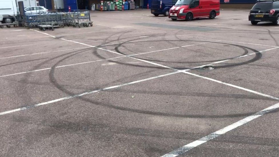 Skidmarks on a car park