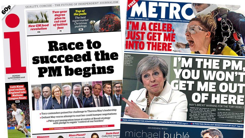 i and Metro front pages