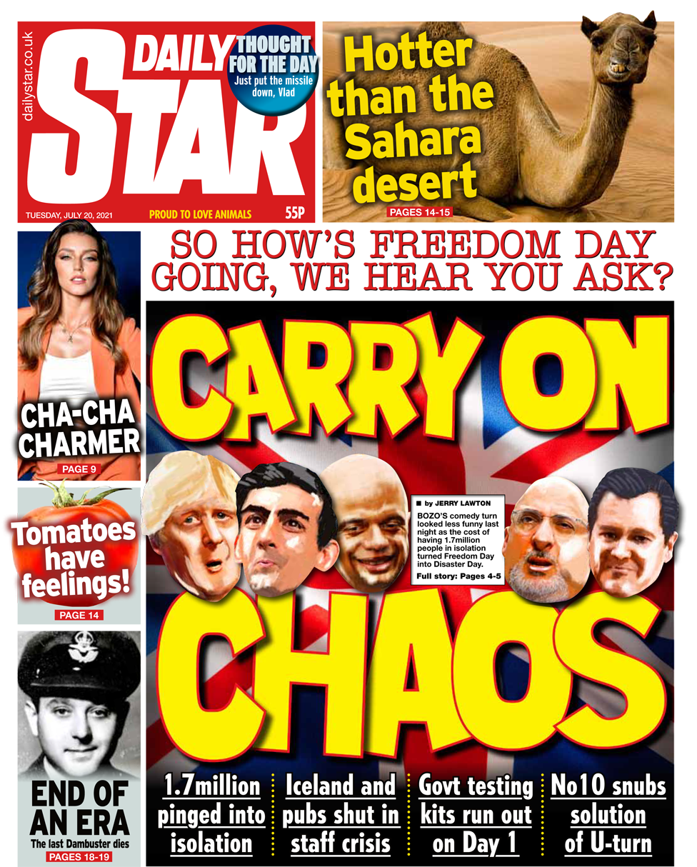 Daily Star front page 20/07/21