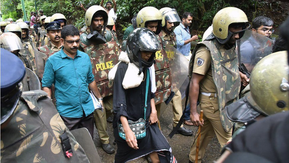 Rehana Fathima on her way to Sabarimala shrine