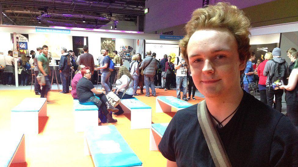 Twenty-year-old Sam at EGX gaming event