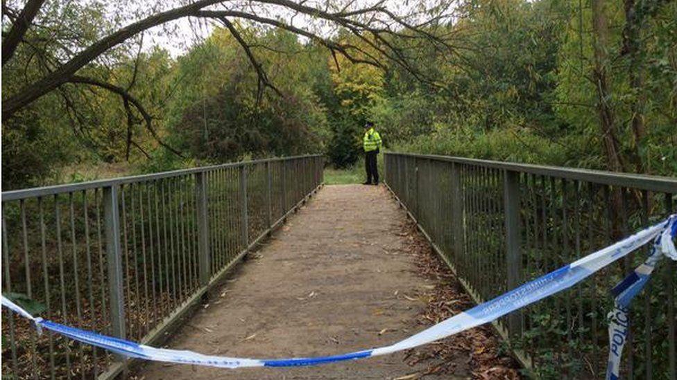 Footbridge near to where assault took place