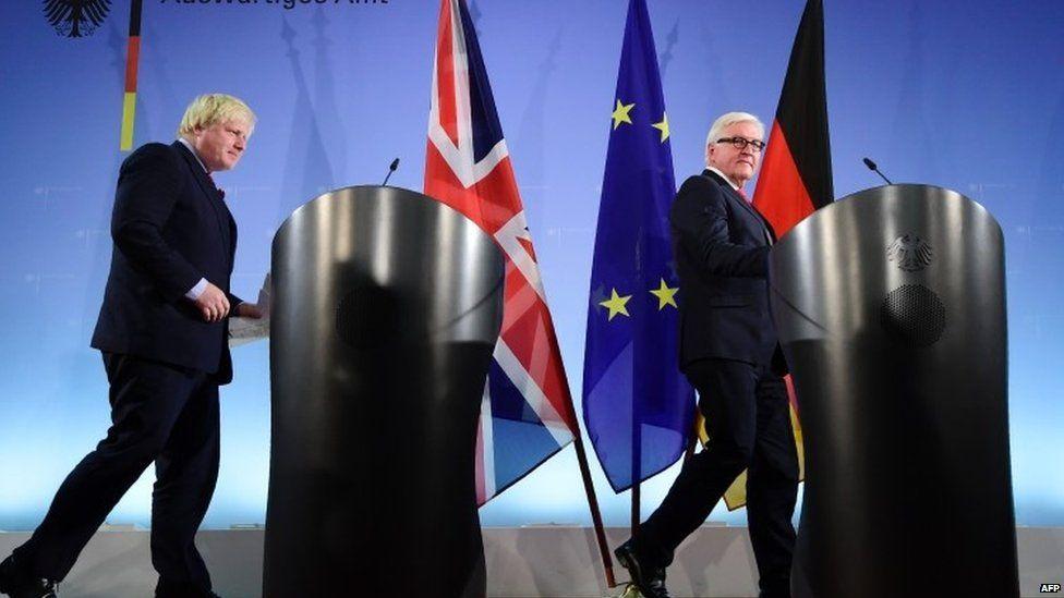Boris Johnson with his German counterpart Walter Steinmeier