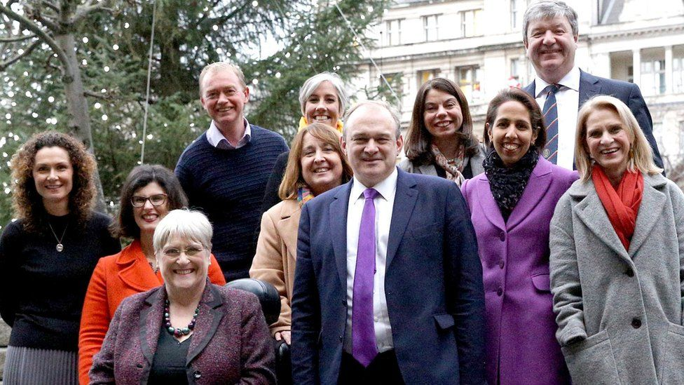Ten of the 11 Lib Dem MPs elected at the 2019 election, pictured with the then president of the party Sal Brinton (Jamie Stone not pictured)