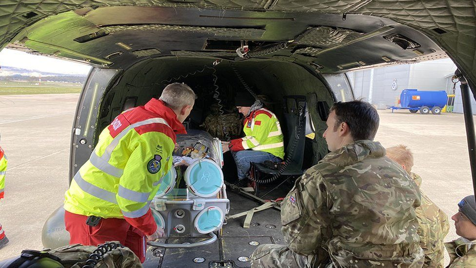 RAF Puma helicopters have been supporting the Scottish Ambulance Service