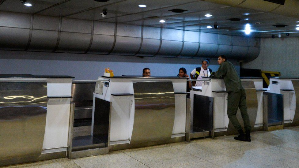 Picture of the empty counters at Simon Bolivar international airport in Caracas, on June 17, 2016.