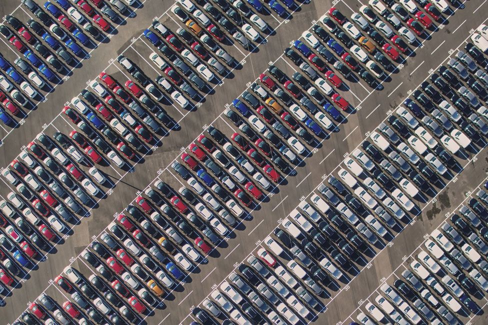 An aerial view of brand new cars parked at Avonmouth, Bristol
