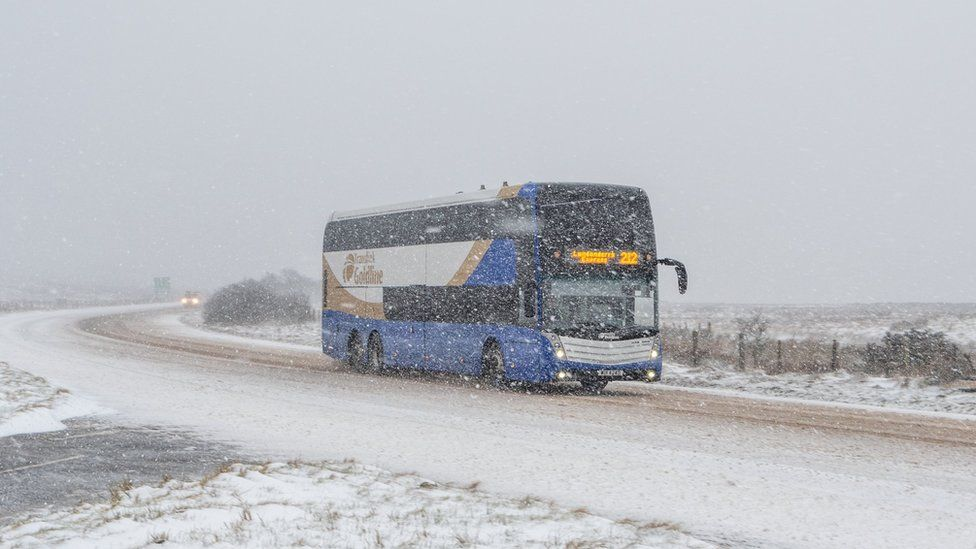 A bus travels across the Glenshane Pass