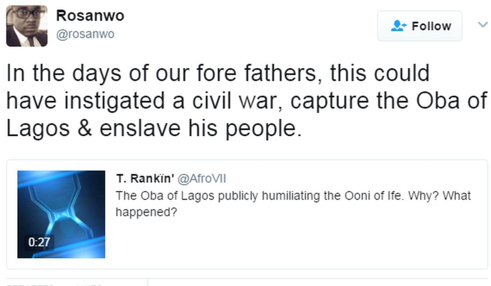 A tweet from Rosanwo