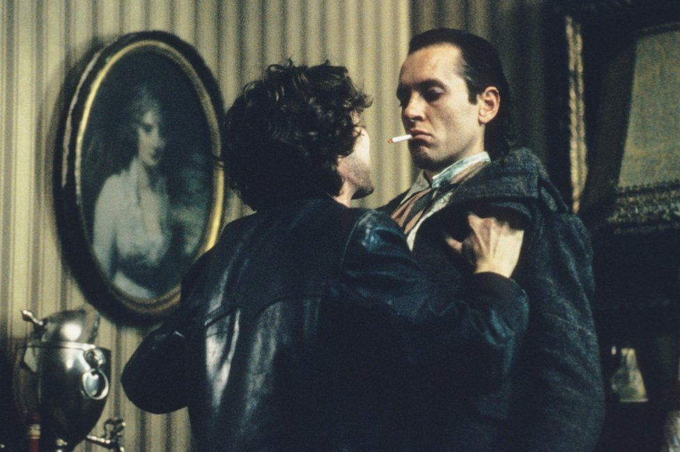 Paul McGann pleads with Richard E Grant in the pair's flat in Withnail and I