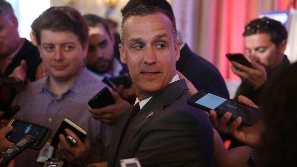 Corey Lewandowski, former campaign manager for Mr Trump, was spotted leaving the White House on Monday